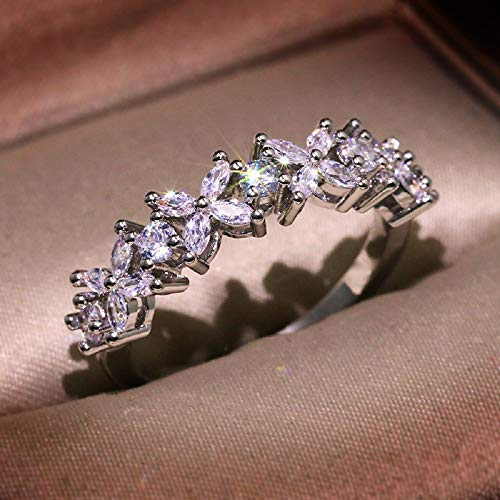 XIALV Exquisite Flower Shape Cubic Zirconia Eternity Wedding Engagement Band Single Row Diamond Ring for Women (US code 6)