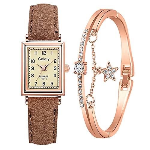 YIBOKANG 2pcs Señoras Moda Clásico Cuadrado Digital Dial Reloj A Prueba De Agua con 1 Estrella Pulsera Conjunto Niña Estudiante Pulsera Reloj Conjunto