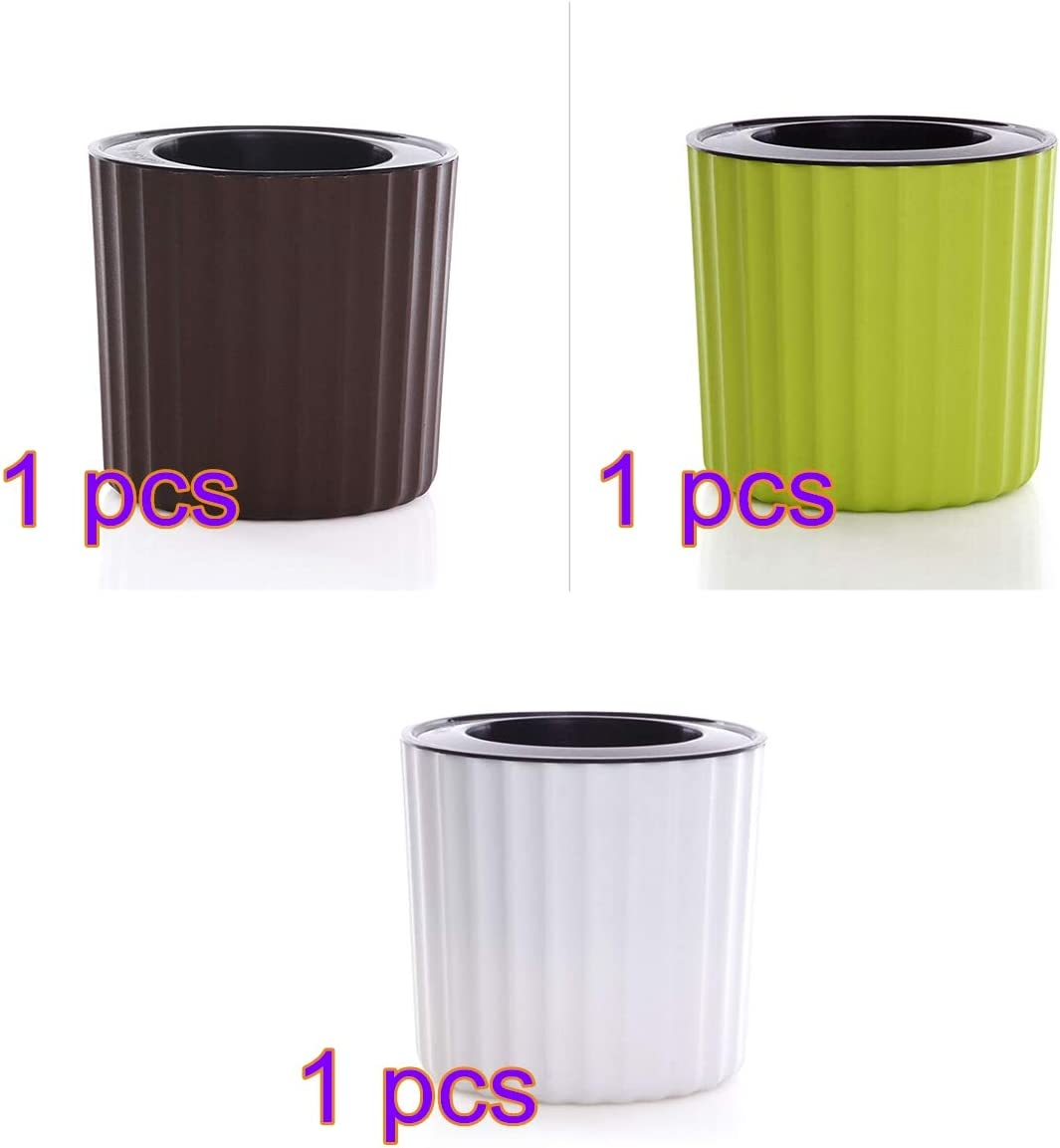 Alapaste 3 Pack Self Watering Planter Modern Decorative Flower Pot for All House Plants Flowers,Herbs,African Violets,Succulents