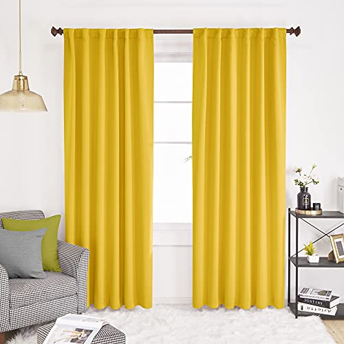 Deconovo Solid Back Tab and Rod Pocket Curtains - (52x84 Inch, Mellow Yellow, 2 Panels), Thermal Insulated Blackout Window Curtains for Living Room