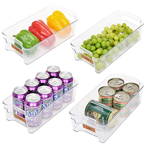 StorageWorks Medium Fridge Organizer Bins, Clear Plastic Storage Bins with Handles for Freezer and Pantry, Refrigerator Organizer Bins, BPA-Free, 12.3' L X 6.2' W X 3.5' H, 4-Pack