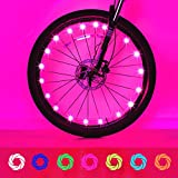 Evaduol Bike Wheel Lights, 7 Colors in 1 Bike Lights,Safety at Night,Switch 9 Modes LED Bike Accessories Lights, USB Rechargeable 1 Pack
