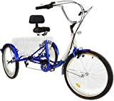 vevor adult tricycle 24 inch 3-wheel bike 7 speed adult trike man or woman wheeled cruiser with