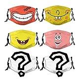 Baochengrui Cartoon Smiley 6pcs Gesichtsmaske waschbare Gesichtsmaske mit verstellbaren Ohrringen Kopftuch Sturmhaube Maulkorb Unisex, KZ-14