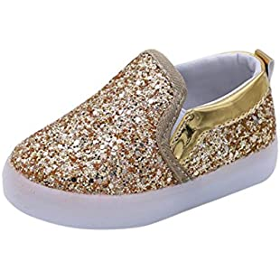 CHshe Kawaii Bling Bling Children Shoes,I'm so Cute Cute Cute, What I Feel Feel Feel with Colorful Luminous LED Light for More Occasions and Places (24, Gold)