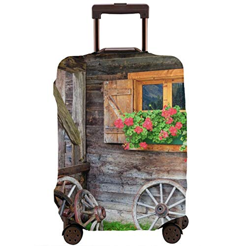 Reiskoffer beschermer, verweerd oud raam met bloemen in potwielen boerderij landelijk scene vooraanzicht badkamer accessoires, koffer cover wasbare bagage Cover