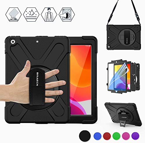 BRAECN iPad 7th/8th Generation Case, iPad 10.2 2019/2020,Heavy Duty Shockproof Rugged Protective Case with Screen Protector, Hand Strap, Kickstand, Carrying Shoulder Strap for A2200/A2198-Black