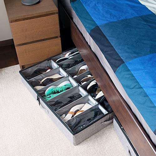 Low Profile Under Bed Shoe Storage Organizer, 4.5'' Tall and Fits Beds 5'' Off The Floor, Adjustable Dividers, Underbed Shoe Storage Solution - Set of 2