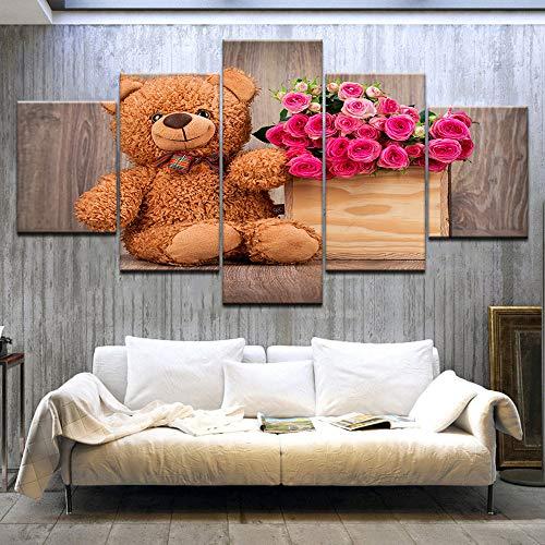 AMOHart Leinwanddrucke Wandkunst 5 Panel Puppe Bär Rote Rose Poster Modulare Kunstwerk Wohnzimmer Wohnkultur gemälde Drucke auf Leinwand Rahmen