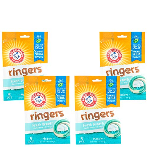 Arm & Hammer for Pets Ringers Dental Treats for Dogs | Dog Dental Chews Fight Bad Dog Breath, Plaque & Tartar Without Brushing | Fresh Mint Flavor, 5 Count - 4 Pack Dental Dog Chews