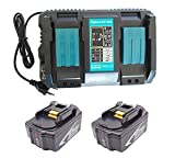 CYDZ 2pcs 18V 5000mAh Reemplazar batería Makita BL1850B para Makita DTW1001Z DHP481RTJ DDF481Z DDF480RTJ DTW1002Z DDF481RTJ DGA511Z con Cargador de doble puerto Makita 4.0A DC18RD