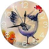 ラウンドウォールクロックデスククロック漫画鶏と彼女の雛は家の家のオフィス学校の装飾のために印刷された静かな数字表示バッテリー式9.84インチ