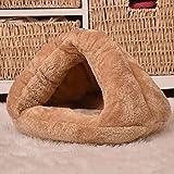 ZQZQ Comodas Triángulo Gato Nido Perro Perrera Cálido Mascota Saco De Dormir-Camel_L 45 * 45 * 33Cm Cama para Perros