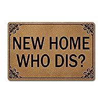 Welcomeドアマット ホームインテリア用 (23.6 x 15.7インチ) 面白いマット 滑り止めゴムバック キッチンラグ 玄関用パーソナライズドアマット (New Home Who Dis)