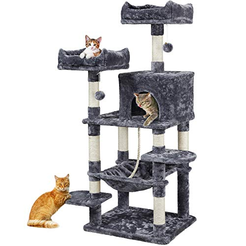 YAHEETECH 59 inches Luxurious Cat Tree Cat Tower with Cat Scratching Posts, Large Play House Climber...