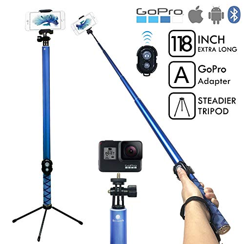 BMZX Bluetooth Long Selfie Stick- Super Length Lightweight Extendable Pole from 20'' to 118 Built-in Wireless Remote Shutter Grip Holder Mount Compatible iPhone Samsung Android Cell Phone(Blue)