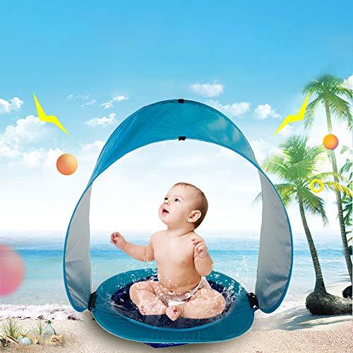 HYQ Piscina con Toldo Bebe, Infantil Tienda De La Playa con Aumento Mini Parasol Toldo para Niños Anti-UV/Impermeable Refugio De Protección Plegable para Niños Menores De 3 Años