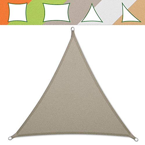 casa pura® Sonnensegel wasserabweisend imprägniert | Testnote 1.4 | Dreieck gleichseitig | UV Schutz Größen (grau, 5x5x5m)