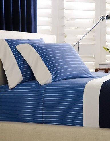 Ralph Lauren Off Sunset Cambridge Stripe Blue/White Pillowcases King by RALPH LAUREN