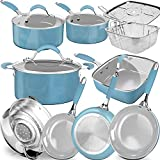 Non-Stick Induction Cookware Sets,Pure Silicone Soft Grip Pots and Pans Set,Enamel Porcelain Exteriors,Professional Durable Healthy Coating,14-Piece,Dishwasher Safe,Turquoise/Incanus,Mother's Day Gift