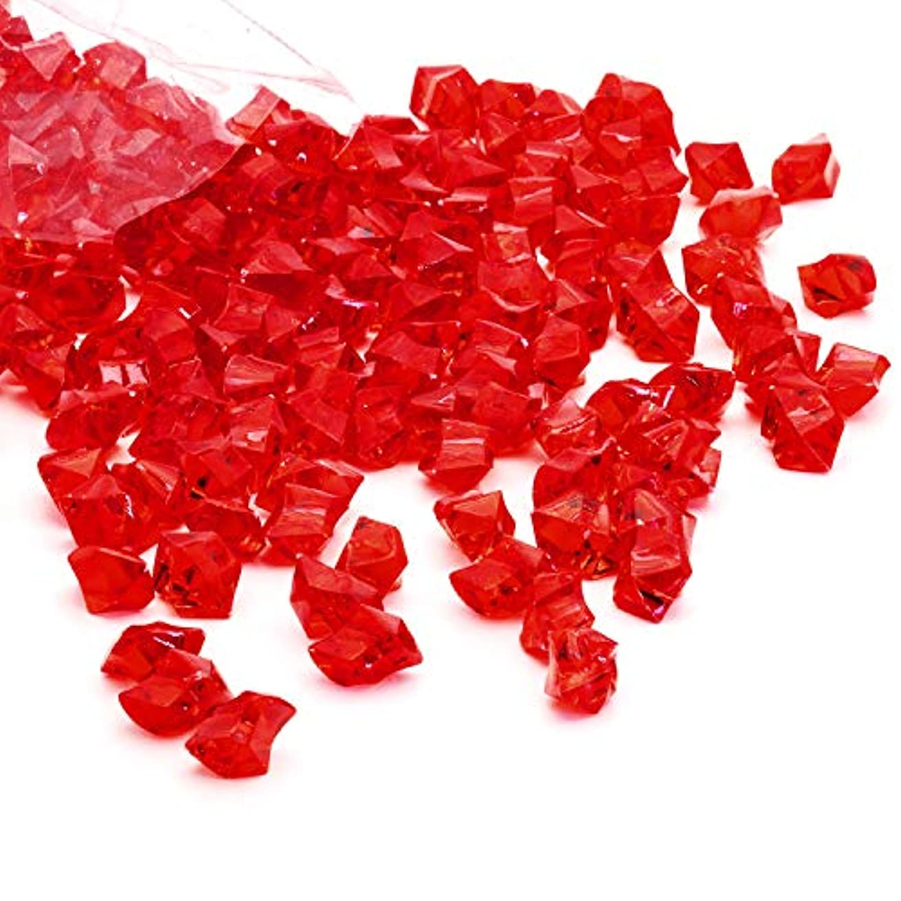 Acrylic Gems Ice Crystal Rocks for Vase Fillers, Party Table Scatter, Wedding, Photography, Party Decoration, Crafts by Royal Imports, 1 LB (Approx 180-200 gems) - Red