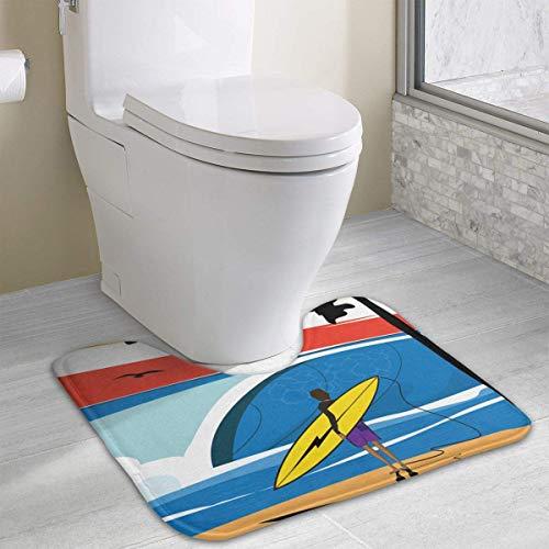 Uosliks Alfombra de baño Surf Art Silhouette Contour, Alfombra de baño de poliéster en Forma de U Alfombra de baño Antideslizante Alfombra de Ducha