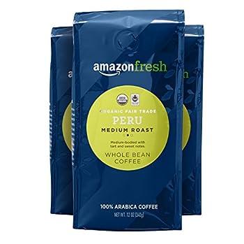 AmazonFresh Organic Fair Trade Peru Whole Bean Coffee Medium Roast 12 Ounce  Pack of 3