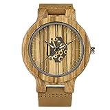 YJRIC Reloj de Madera Relojes de Cuero conEstilo de Madera Hechos a Mano de Maderapara Hombres Reloj de Cuarzo Hueco de Moda Natural Reloj de Pulsera de bambú Masculino, marrón