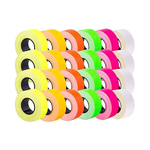 (Mezclar 24 rollos) 21 x 12 mm Etiqueta adhesiva de papel de color Precio Pistola Etiquetas de marcador de precios MX-5500