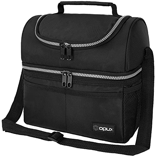 Insulated Dual Compartment Lunch Bag for Men, Women   Double Deck Reusable...