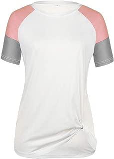 AIFGR Camisa de Mujer Damas Empalme de Manga Corta O-Cuello ...