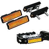 LOEVELOSI Pedalreflektor 4er Set Extra Verstärkt mit StVZO Reflektoren für Pedale Orange mit Muttern und Schrauben für Fahrradpedale Pedal-Reflektor Pedalreflektoren Rückstrahler Rad Reflektoren