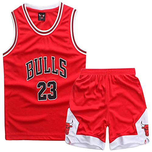 Gofei Kinder Basketball Weste Shorts Sommer Basketball Anzug Bulls 23# Jordan Trikots Jersey Classic ärmelloses Top und Kurze Hose
