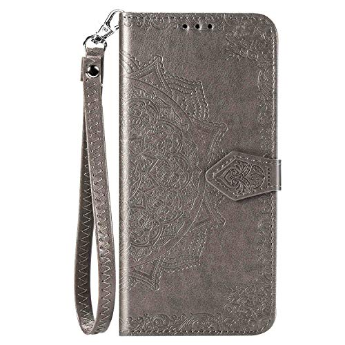 iEugen Compatible with iPhone 12 & iPhone 12 Pro Case,3 Card Slots,1 Note Pockets,Kickstand,Mandala Flower Embossed,Double Magnetic Clasp,Luxury PU Leather Wallet Case Flip Folio Cover,Grey