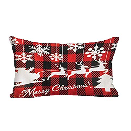 Sangool 50cmx30cm Christmas Rectangle Cushion Cover Home Decor Throw Pillowcase Sofa Zippered Pillowcases with Red Black Buffalo Plaids Snowflake Deer for Home