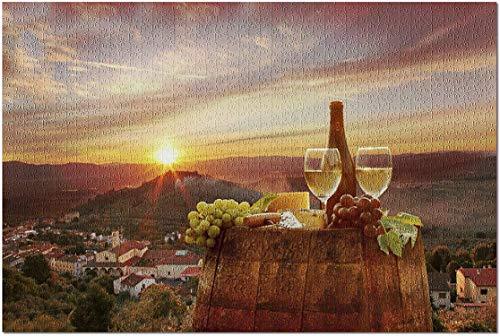 Romance-and-Beauty Weißwein mit Blick auf Chianti, Toskana, Italien Premium 1000-teiliges Puzzle für Erwachsene, 19,7 x 29,5 Inch