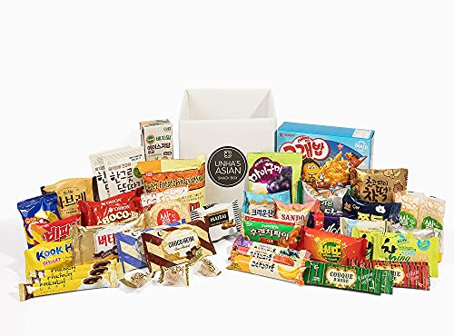 Korean Snack Box Variety Pack - 40 Count Individual Wrapped Gift Care Package Bundle Sampler Assortment Mix Candy Chips Cookies Treats for Kids Children College Students Adult