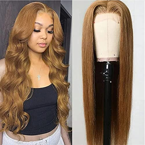 UNice Hair Silk Base Fake Scalp Strawberry Blonde Color Middle Part Wigs for Black Women, Brazilian Straight Human Hair T-Part Lace Closure Wig Pre Plucked with Baby Hair 150% Density 22inch