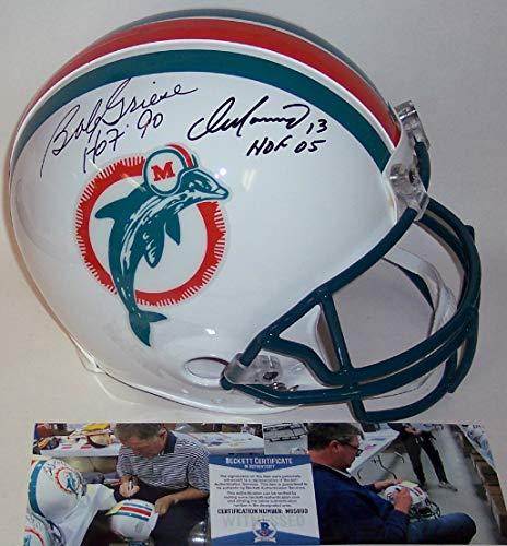Dan Marino and Bob Griese Autographed Hand Signed Miami Dolphins Throwback Full Size Authentic Pro Football Helmet - with Hall of Fame inscriptions - BAS Beckett Authentication
