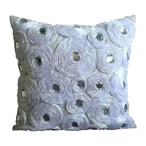 White Heaven - Decorativa Funda de Cojin 50 x 50 cm, Square Blanco Seda Satén Flores de Cinta