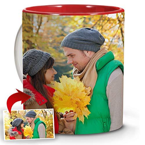LolaPix Tazas de Desayuno Personalizadas con Foto. Regalos Personalizados con Foto. Taza Personalizada de Cerámica. Tazas con Color Interior Rojo