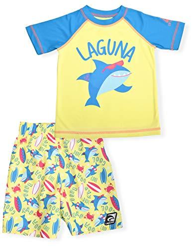 """LAGUNA Jungen-Schwimmset mit kurzärmeligem Rashguard und Sonnenshirt mit Aufdruck """"UPF 50+"""" - - 4 Jahre"""