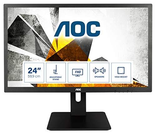 AOC E2475PWJ - 24 Zoll FHD Monitor, höhenverstellbar (1920x1080, 60 Hz, VGA, DVI, HDMI) schwarz