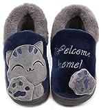 Vunavueya Zapatillas de Estar por Casa Niña Niño Zapatos Pantuflas Invierno Bebé Interior Caliente Peluche Forradas Slippers Azul(Navy) 31/32 EU/220CN