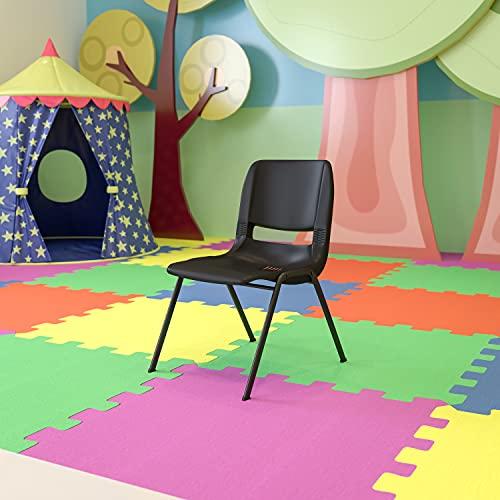 EMMA + OLIVER Kid's Black Ergonomic Shell Stack Chair - Black Frame and 14' H Seat