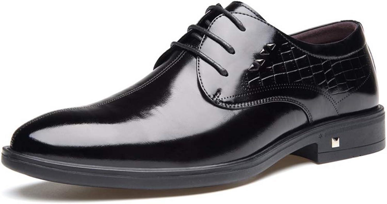 Men's shoes Autumn Men's Business Dress shoes Men's Leather Feet Men's shoes England Wind shoes Men (color   Black, Size   44)