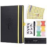 Dotted Journal/Dotted Notebook - Páginas Numeradas de Puntos Lemome Cuaderno de Tapa Dura A5 con Soporte Para Rotuladores - Papel Grueso Premium + Obsequios Extra (Negro)