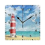 ISAOA - Reloj de pared silencioso sin tictac, faro en la playa con conchas marinas, decoración artística para el comedor, sala de estar, dormitorio, oficina, escuela