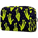 Women Makeup Bag Girl Cosmetic Bags Toiletry Organizer Pouch with Zipper Aliens Hands UFO Space