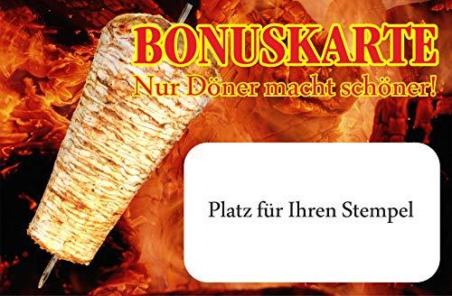 INDIGOS UG® - Bonuskarten Döner classic - 300g Karton - 100 Stück - 15 Bonusfelder 85x55 mm - matt - Döner Kebap - Kebab - Imbiss - Bistro - Chicken - Falafel - Restaurant